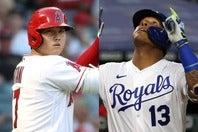 43本塁打でメジャートップを走る大谷(左)だが、絶好調のペレス(右)に1本差まで詰め寄られている。(C)Getty Images