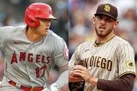 """今季はここまで23盗塁と""""脚""""でも魅せている大谷(左)。マスグローブ(右)もその活躍に感銘を受けているようだ。(C)Getty Images"""