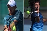 準決勝進出を決めた、竹島駿朗(左)と白石光(右)。(C)長浜功明/Uchiyama Cup