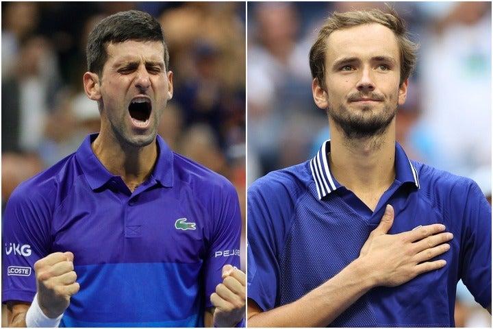 全米決勝を戦うジョコビッチ(左)とメドベージェフ(右)。2人の対戦成績はジョコビッチの5勝3敗。(C)Getty Images