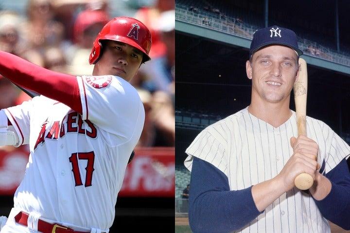 大打者マリス(右)と大谷(左)は同じ左のパワーヒッターだけでなく、歴史的な意味でも共通点がある。(C)Getty Images