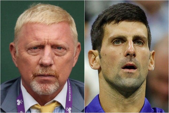 ジョコビッチ(写真右)に対する理不尽な評価について、かつての恩師ベッカー(同左)が苦言を呈した。(C)Getty Images