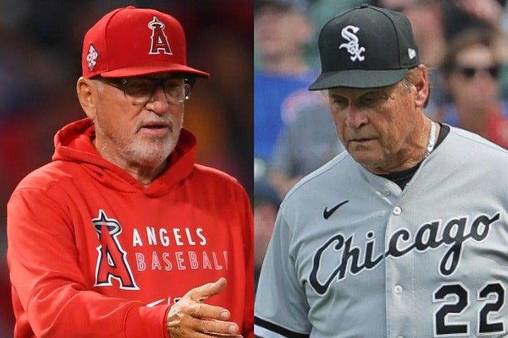 """大谷への死球を""""報復""""と主張したマッドン監督(左)。退場処分が下されたラルーサ監督(右)はこれを否定している。(C)Getty Images"""