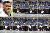 前後の体重移動を効率よく用いてパワーを生み出すオジェ-アリアシム。打点では身体を一直線にして最も高い位置でボールを捉えている。写真:真野博正、(C)Getty Images