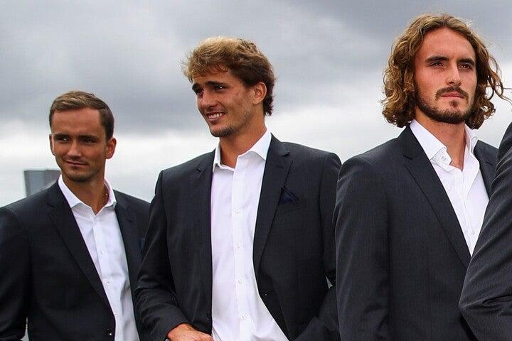 レーバーカップで同チームになった、メドベージェフ、ズベレフ、チチパス(左から)。(C)Getty Images