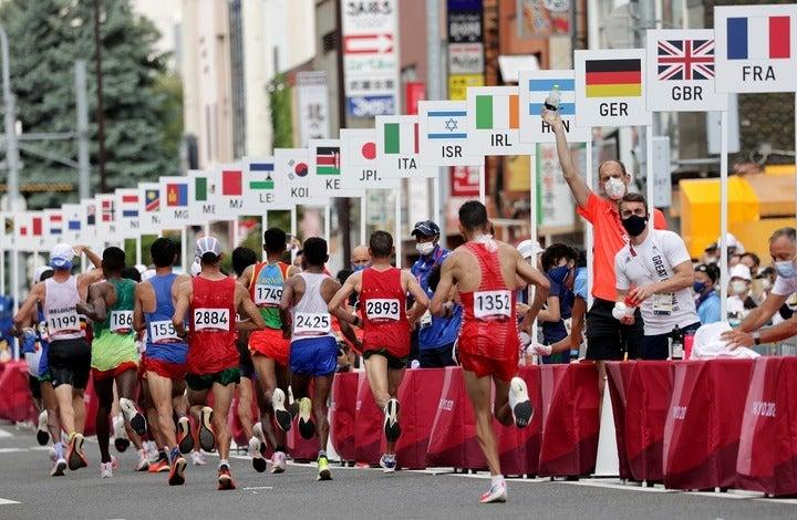 酷暑のなかで行なわれた東京五輪の男子マラソン。オ・ジュハンは15キロ付近でリタイヤした。(C)Getty Images