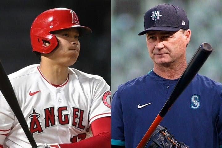 大谷(左)に4四球を与えた試合内容について、サーバイス監督(右)が会見で振り返っている。(C)Getty Images