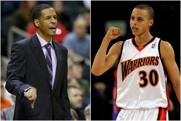 サイラス(左)はウォリアーズのアシスタントコーチ時代に、駆け出しだったカリーを指導した。(C)Getty Images
