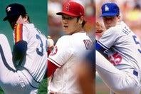 ライアン(左)やハーシュハイザー(右)と同じだけの成績を残した大谷(中央)。往年の名投手たちに肩を並べたと言っても過言ではないのかもしれない。(C)Getty Images