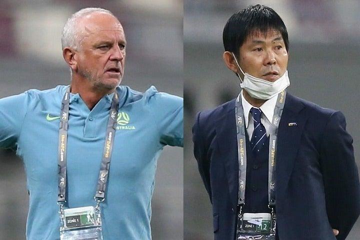 オーストラリアを率いるアーノルド監督(左)は、日本戦を前に現役時代の同僚でもある森保監督(右)への想いを明かした。(C)Getty Images